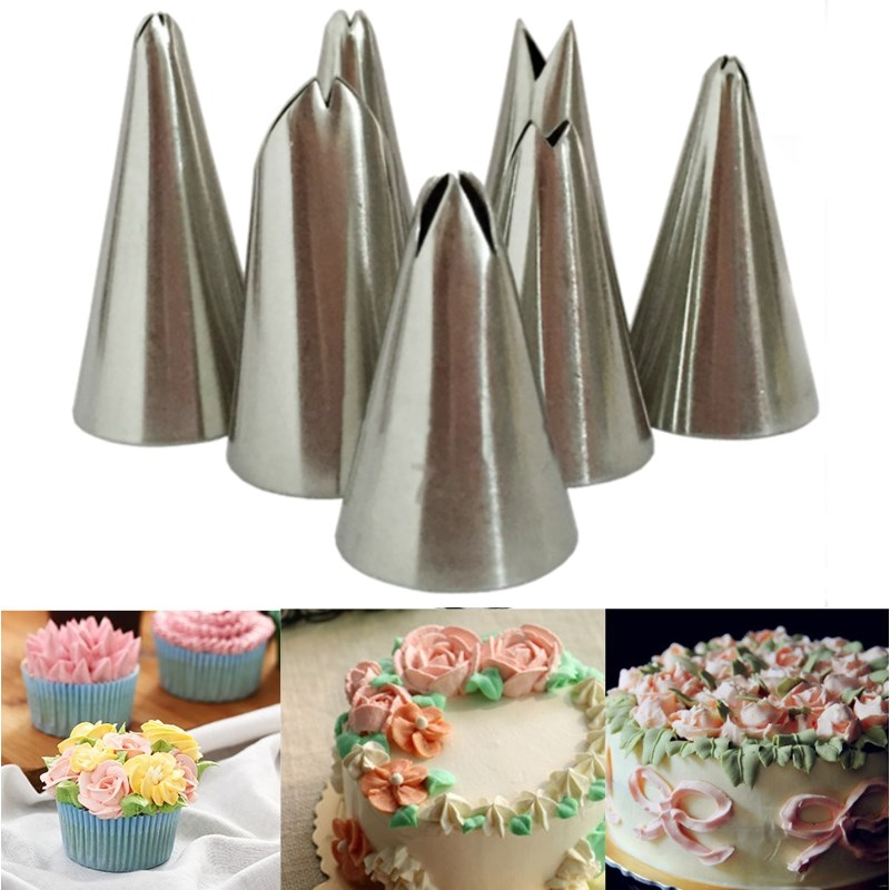 Stainless steel leaf icing piping nozzles 7pcs set cake decorating tips home cupcake pastry - Tips on home decorating set ...