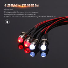 4 LED Verlichting Lamp Kit voor RC Auto 1/10 1/8 Traxxas HSP Redcat RC4WD Tamiya Axiale SCX10 D90 HPI RC auto Truck Model Onderdelen(China)