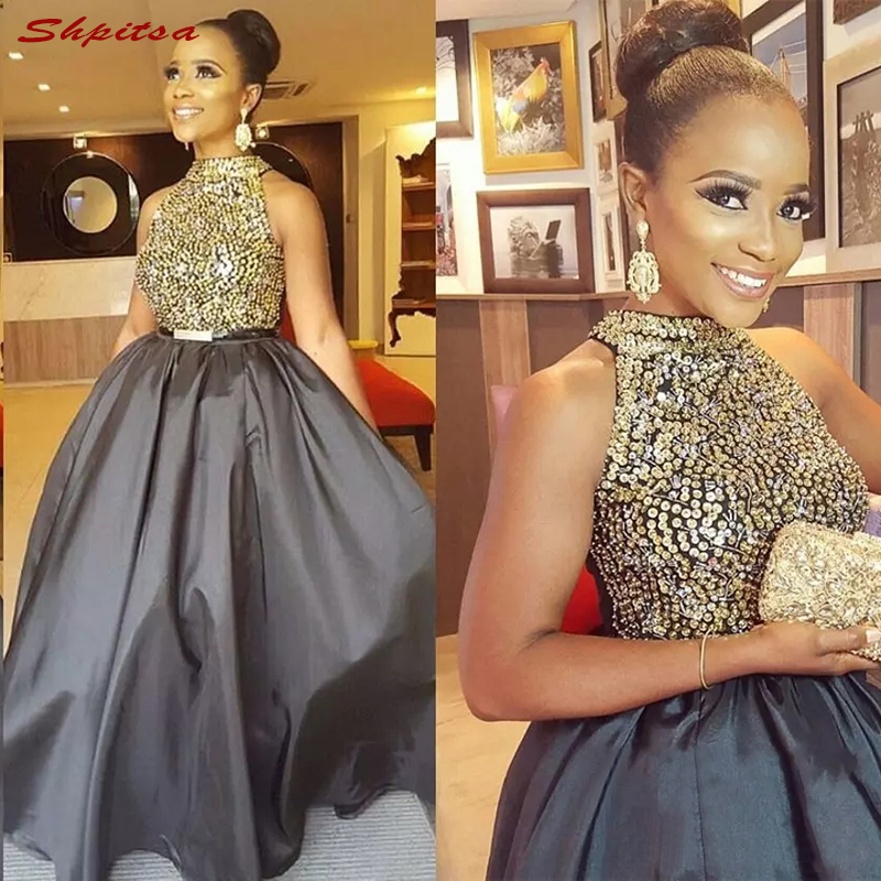 Grey Mother of the Bride Dresses for Wedding Party A Line Crystals Beaded Prom Evening Gowns