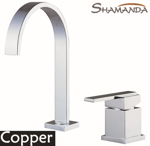 Free Shipping Solid Brass Copper Chrome Hot and Cold 2 Holes Single Handle Basin Faucet Mixer Tap 2 Pieces Square Faucet-2419 chrome unqiue patent basin faucet single handle single holes hot and cold kitchen faucet mixer solid brass water tap co8723