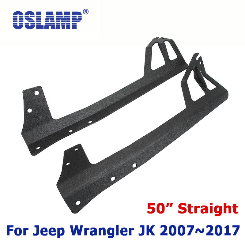Oslamp Refit Installation On Windshield Mounting Brackets For Jeep Wrangler JK 2007~2017 Remodel 50inch Straight LED Light Bar auxmart 22 led light bar 3 row 324w for jeep wrangler jk unlimited jku 07 17 straight 5d 400w led light bar mount brackets