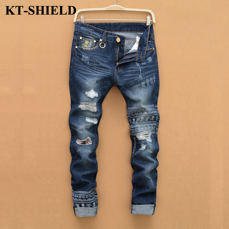 2017 New Blue Ripped Jeans Men With Holes Denim Skull Print Skinny Famous Designer Brand Slim Jean Pants Distressed Biker Jeans 2017 skull character designer jeans men tapered slim europe american style blue pencils retro grey vintage ripped broken pants