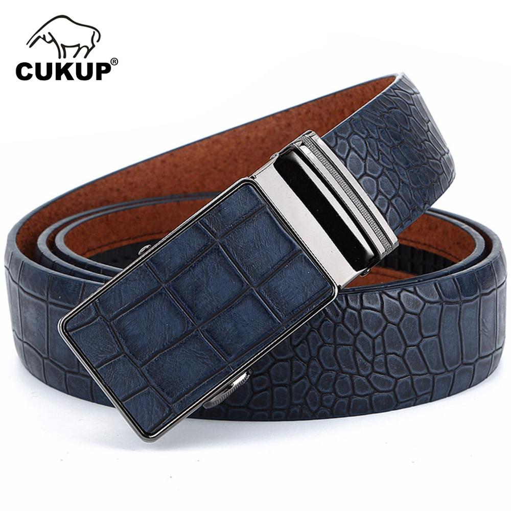 CUKUP Men's Leather Cover Automatic Buckle Metal Belts Quality Crocodile Stripes Blue Cow Skin Accessories Belt for Men NCK133