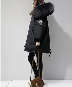 Image 3 - XL 4XL Black Thicken Wool Blends Coat Women Embroidery Jacket Cotton Long Hooded Neck Ladies Casual Coats Clothing Warm Winter