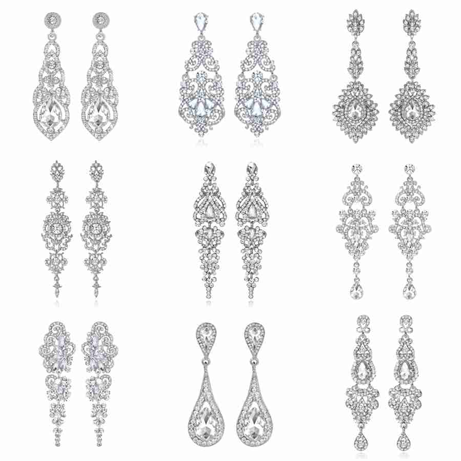 Furniture 2 Colors Big Long Crystal Drop Earrings For Women Vintage Earrings Flower Bohemian Style Fine Jewelry Wedding Accessories New Varieties Are Introduced One After Another