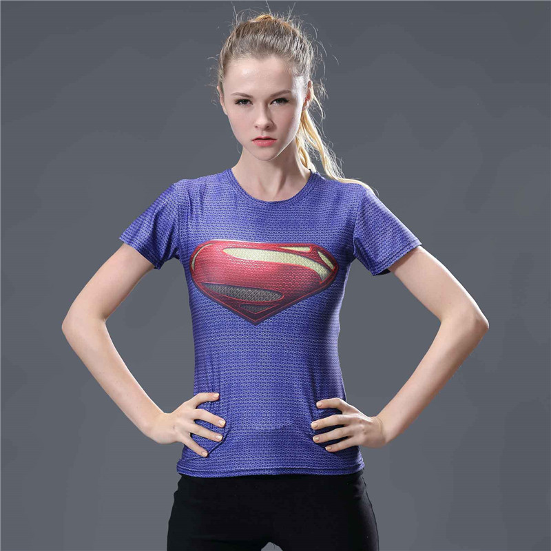 22  Captain America Superhero Superman Compression Shirt For Women T-shirt Short Sleeve O-neck Fitness Summer Top Camisetas Mujer