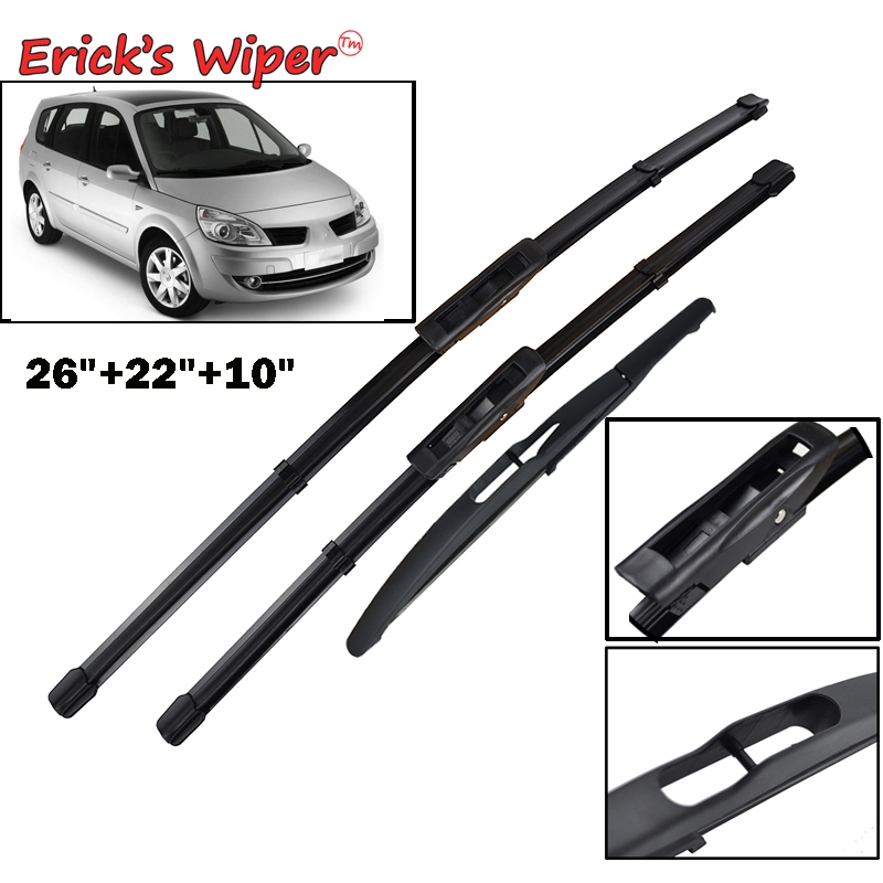 "Forceful Erick's Wiper Front Rear Wiper Blades For Renault Scenic 2 / Grand 2005-2009 Windshield Windscreen Front 26""22""10"""
