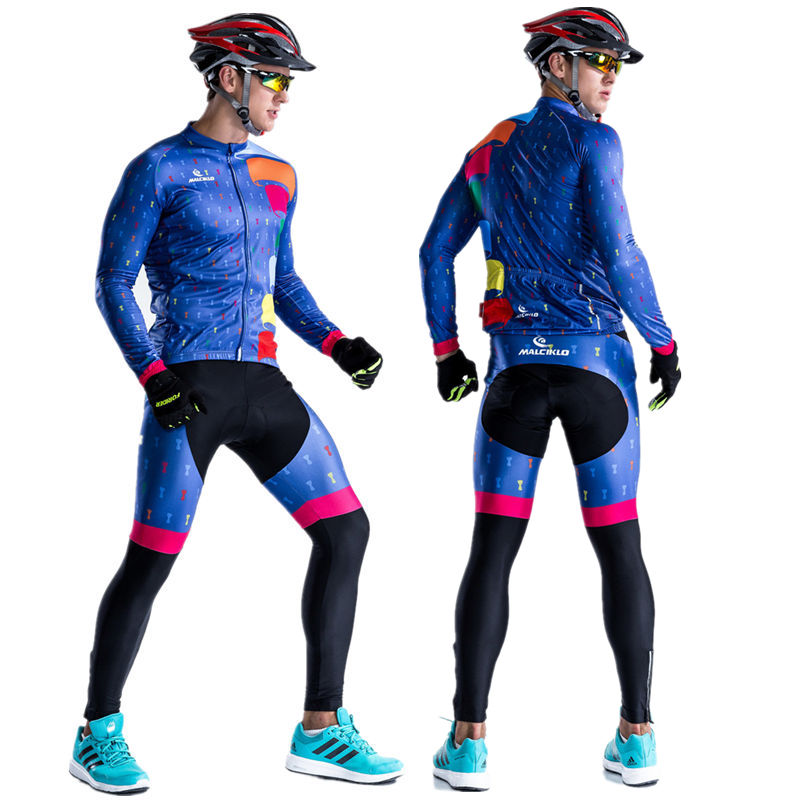 High Quality Long Sleeve Road Bike Jersey Cycling Suit Reflective Breathable MTB Cycling Clothing Men's Cycling Jersey Set 2017 women s long cycling clothing mountain bike kit reflective cycle jersey