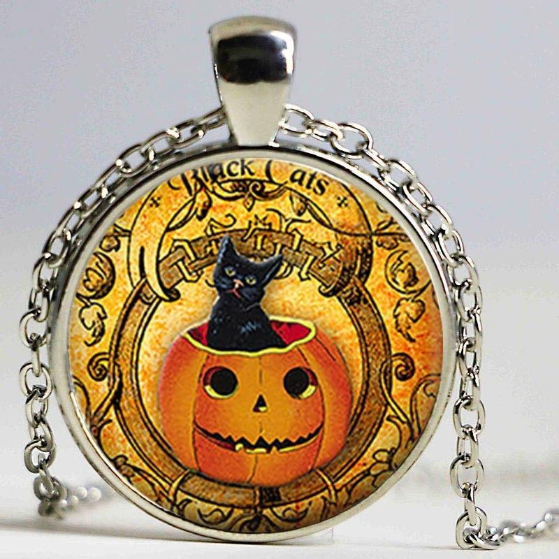 girls cat necklace Halloween pendant necklace children/'s necklace Cat necklace Halloween cat necklace cat pendant necklace