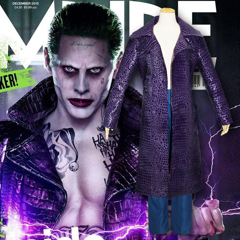 Anime New Suicide Squad Joker Cosplay Costumes Jared Leto Men Solid PU Leather Trench Coat Pants Suit Halloween Carnival Outfits