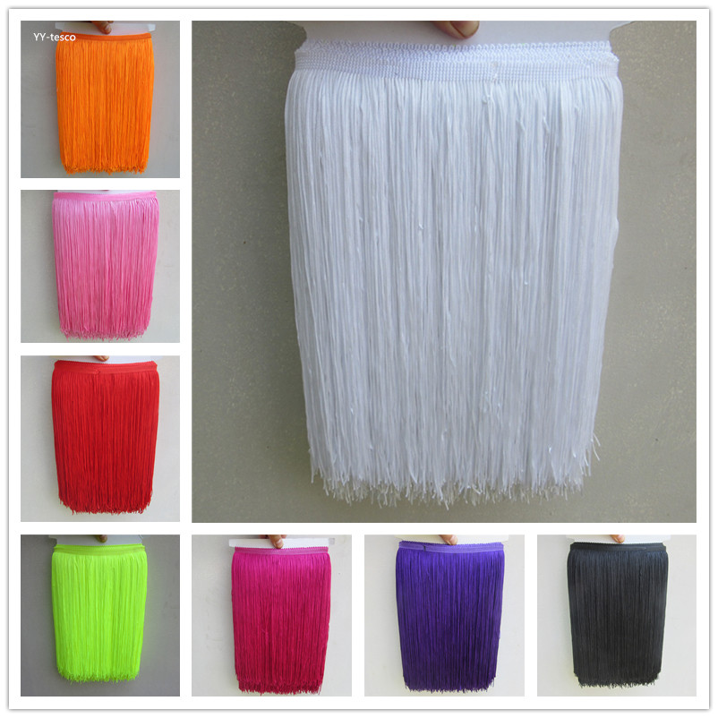 YY-tesco 1 Yard 30CM Long Lace Fringe Trim Tassel Fringe Trimming For Diy Latin Dress Stage Clothes Accessories Lace Ribbon