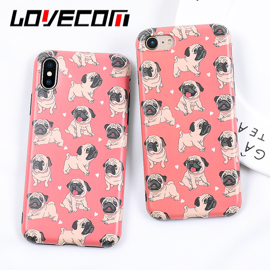 LOVECOM Cartoon Lovely Dogs Soft IMD Phone Back Cover Cases For iPhone 6 6S 7 8 Plus X Fashion GoosyPets Dogs Case