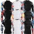 Camisa de T dos homens por atacado Homens Musculares Roupas De Compressão De Camisa de Impressão 3D Manga Comprida Duplo Sides Pele Camisa Rashguard Workout