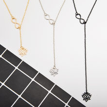 High Quality 3 Color 2018 New Hot Fashion Chain Infinity Lotus Lariat Pendant Necklace Gold Y Style Flower Necklace Jewelry Gift(China)
