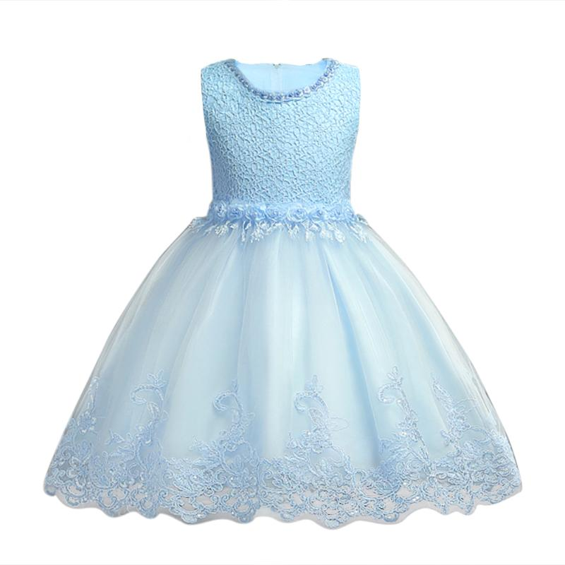 Toddler Children Girls Ball Gown Dress Solid Color Baby Girl Flower Pearl Lace Mesh Dress for Girls Wedding Party Clothes kids girls lace princess dress children party dress for wedding baby girl clothes toddler solid color costume robe file vestidos