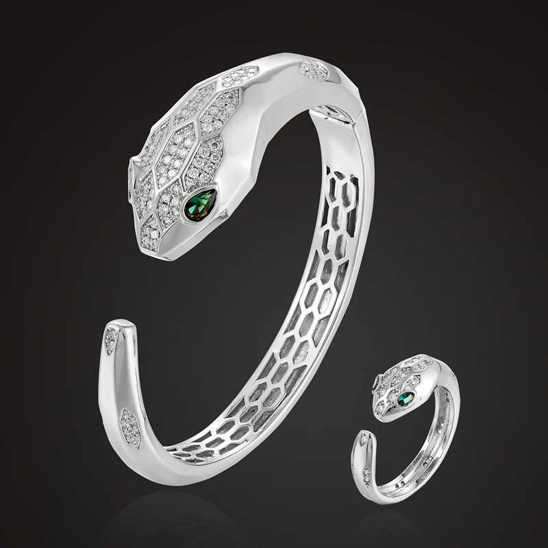 Zlxgirl haute qualité cubique Zircon serpent Bracelet & Bracelet anneaux ensemble de bijoux costume pour les femmes personnalité accessoire de bijoux de mode