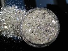 PURE 100% ที่ดีที่สุดSILVER SHINING UV Glitterผงฝุ่นแผ่นตกแต่งเล็บขนาดเล็กGlitter ,5G Jar,YTKL02265221148712212