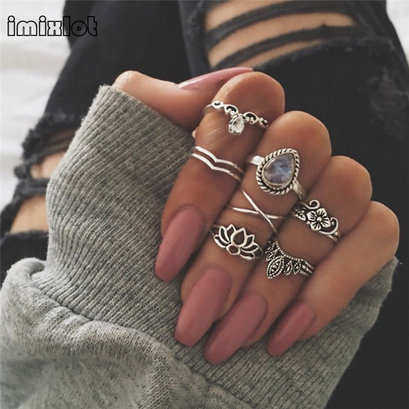 imixlot 7Pcs/Set Rings Sets For Women Gypsy Ethnic Jewelry Antique Gold Color Full Rhinestone Crystal Charm Vintage Midi Ring An