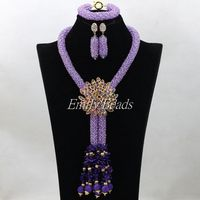 Fabulous Quality Bridal Necklace Set Nigerian Wedding African Crystal Lilac Necklace Bracelet Earrings Sets Handmade ALJ168