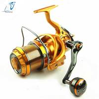 AZJ 2018 Top Surfcasting Fishing Reel Feeder far Carp Cast Sea Spool Peche Wheel Spinning Drag Handle carbon