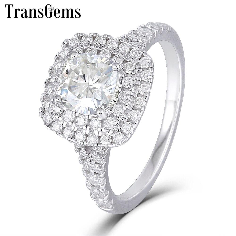 Трансвеститы 14 к белое золото двойное кольцо Halo центр 1ct 6 мм Подушка с квадратным вырезом F цвет обручальное кольцо для женщин Свадьба