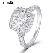 Transgems 14K White Gold Double Halo Ring Center 1ct 6mm Square Cushion Cut F Color Moissanite Engagement Ring for Women Wedding цена в Москве и Питере
