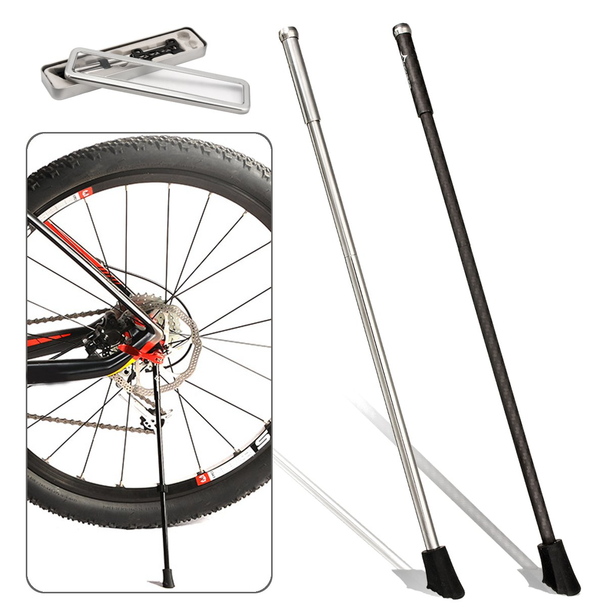 RockBros Bike Folding Stand Stainless Steel Quick Release Axle Skewer Kickstand