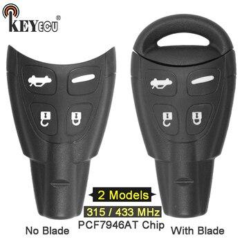 Keyecu 315 MHz/433 MHz PCF7946AT Chip P/N: LTQSAAM433TX Penggantian 4 Tombol Remote Mobil Kunci Fob untuk Saab 9-3 9-3 9-5 Tidak Ada/dengan Pisau