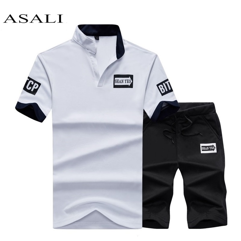 New 2019 Summer 2 PCS Top Tee Shirts Casual Tshirt Brand Men T-shirt Fashion Print letter Mens T Shirt Homme Short Set Plus Size