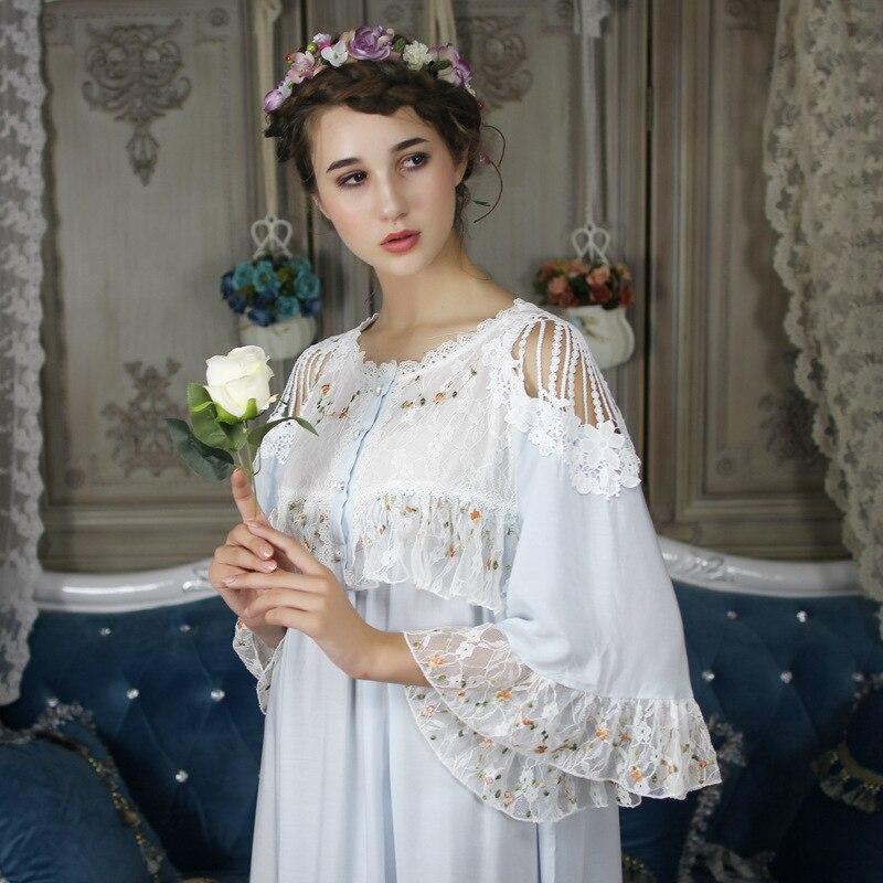Autumn Floral Cotton Vintage Women's Long Nightgowns Half Sleeve Elegant  Sleep Dress Female Sleepwear Large Size 8028