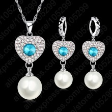 Wedding Fine Jewelry Sets Real Pure 925 Sterling Silver Cubic Zircon Crystal Pendant Necklace Earring Pearl Engagement Set(China)