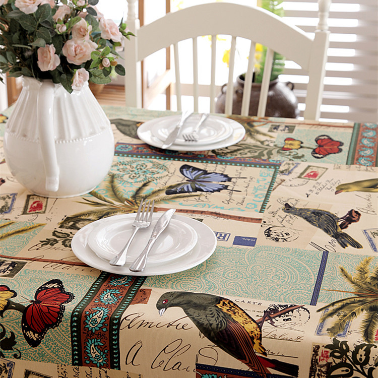 Mediterranean Butterfly Birds Coconut Tree Decorative Table Cloth Cotton Tablecloth Dining Table Cover For Kitchen Home Decor