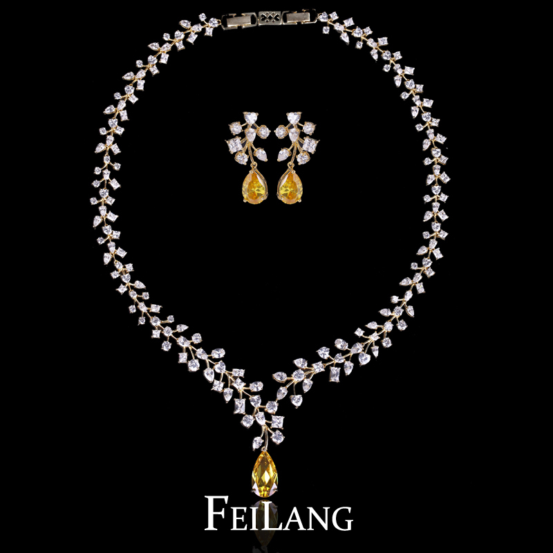 FEILANG Brand Design Read 18k Gold Yellow Stone Cubic Zirconia
