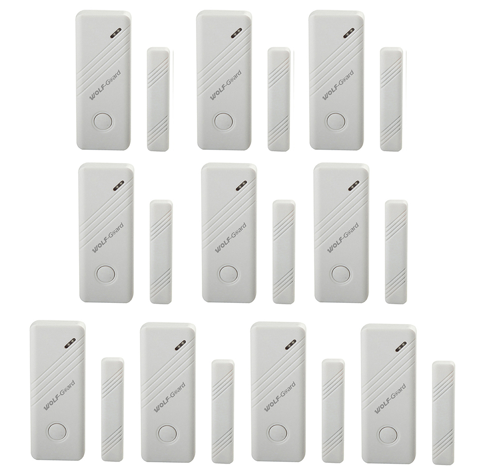 10 x Wolf-Guard Wireless Door Window Alarm Sensor Detector for Home Security Alarm System 433MHz White
