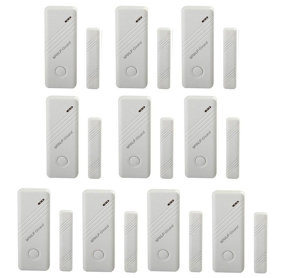 10 x détecteur de capteur d'alarme de fenêtre de porte sans fil Wolf-Guard pour système d'alarme de sécurité à domicile 433 MHz blanc