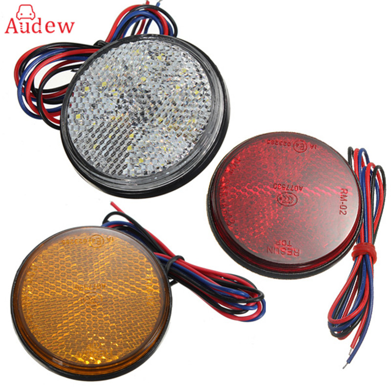 Pair LED Round Reflector Brake Stop Marker Light Indicator Taillights Truck Trailer Car Motorcycle 3 Colors High Quality