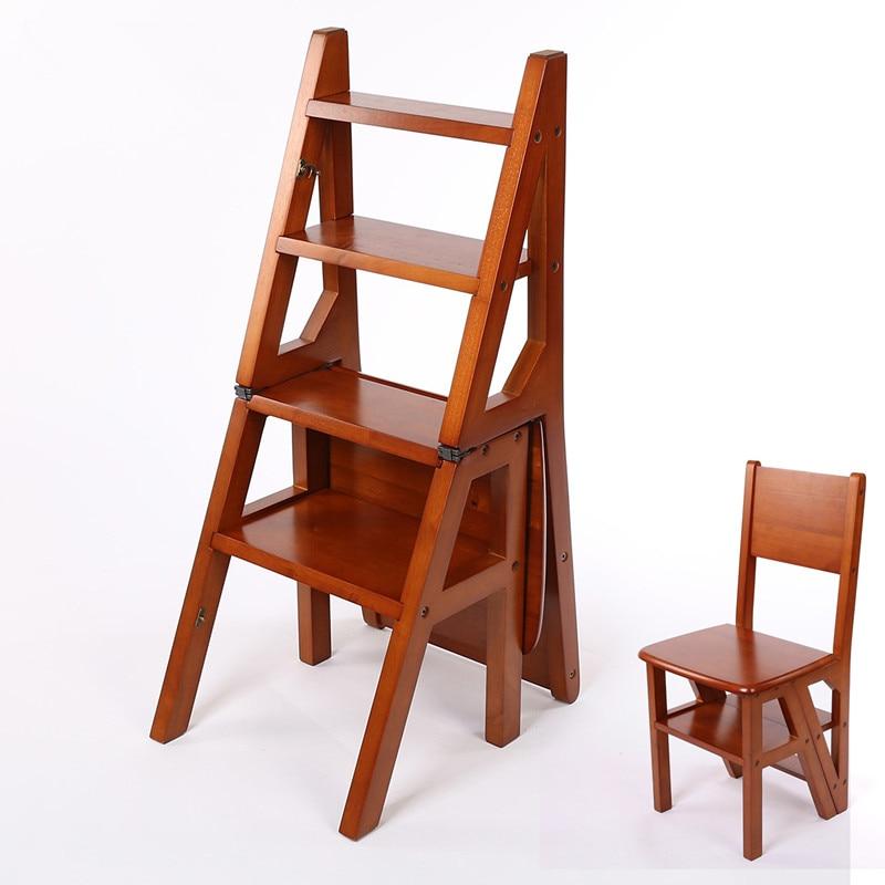 convertible de cuatro pasos escalera biblioteca biblioteca muebles silla plegable silla taburete de madera escalera