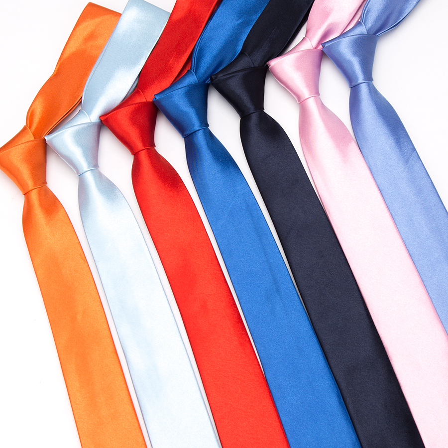 XGVOKH Solid Ties For Men Fashion Classic Slim Tie Polyester Narrow Cravat 5cm Blue Red Black Wedding Party Necktie Accessories