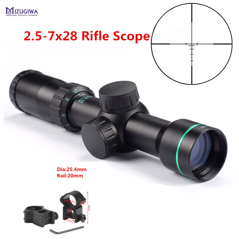 Tactical Optical Sight 2.5-7x28 Riflescope Reticle Optical Sight Air Rifle Scope Ring 25.4mm 11mm/20mm Hunting Caza
