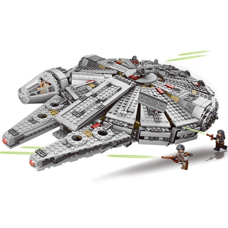 1381 pcs Faucon Millenium Force Réveil Star Wars 7 Blocs de Construction Jouets Pour Enfants Star Wars Jouets Avec legoingly 79211