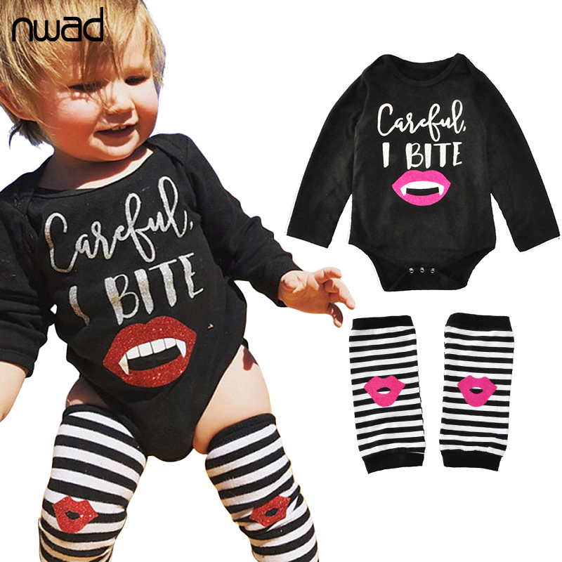 NWAD Baby Clothes Set Striped And Lips Print Clothing Suit For Newborn Baby Girls Long Sleeve Bodysuits +Leggings FF322
