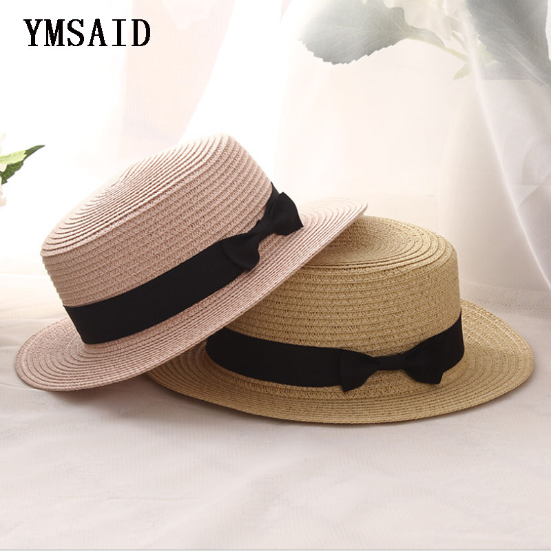 Ymsaid 2018 Summer Women Boater Beach Hat Female Casual Panama Hat Lady Brand Classic Bowknot Straw Flat Sun Hat Women Fedora straw fedora hat