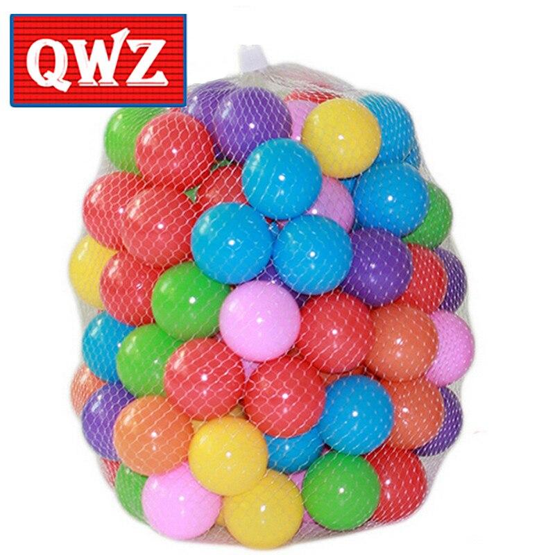 100 יח'\חבילה QWZ פלסטיק רך צבעוני ידידותית לסביבת בריכת המים אוקיינוס גל כדור בייבי מצחיק צעצועי תינוק צעצוע כיף חוצות כדור ספורט