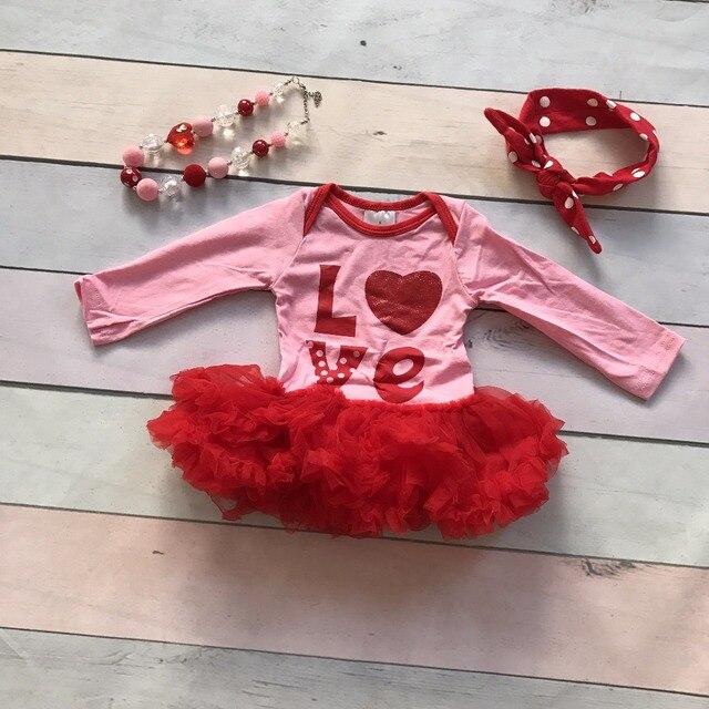 День святого валентина пачки хлопка девочек комбинезон рябить платье одежда розовый красный Любовь милый ребенок детская одежда с соответствующими аксессуарами