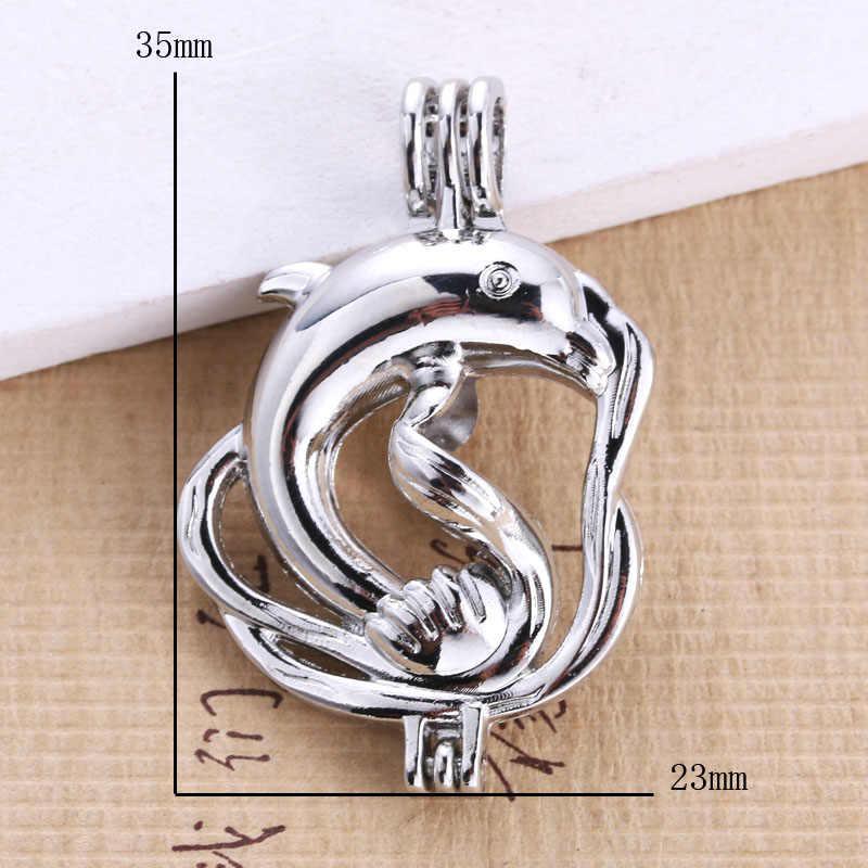 6pcs Bright Silver dolphin Pearl สร้อยคอเครื่องประดับอุปกรณ์ลูกปัดกรง Locket จี้น้ำหอม Diffuser เครื่องประดับสนุก
