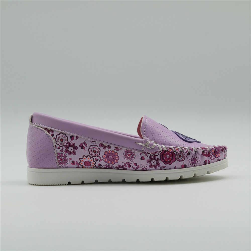 Apakowa หญิงหนังนุ่ม Loafer รองเท้าสบายๆ Breathable รองเท้าผ้าใบเด็กรองเท้าเด็กวัยหัดเดินเด็กเล็ก