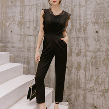 2019 Summer Lace Jumpsuit for Women Ankle-Length High Street Black/White Jumpsuits with Pocket