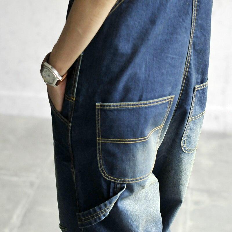 Sokotoo женская случайные свободные джинсовые комбинезоны женские отверстие разорвал мешковатые джинсы широкую ногу брюки для женщин
