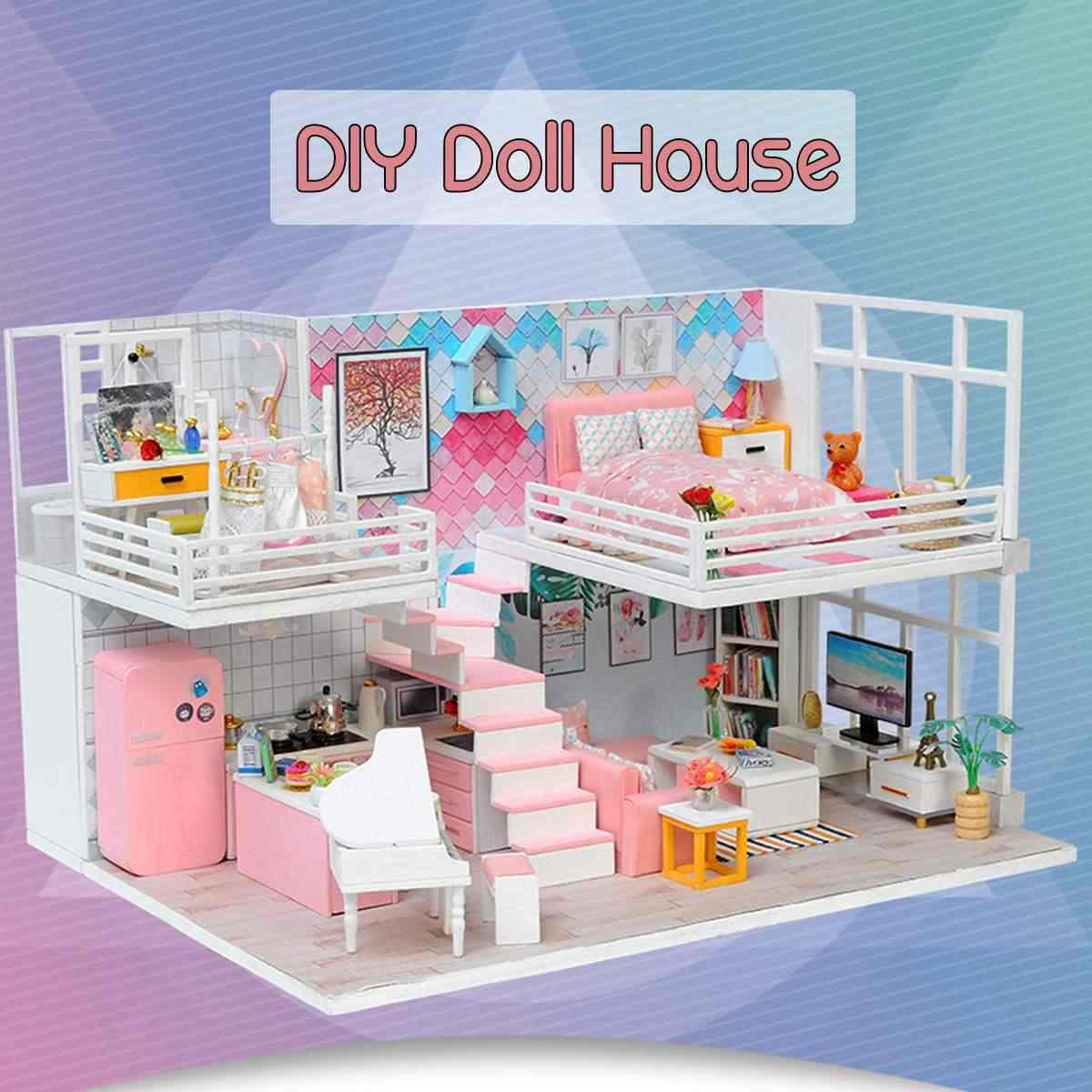 Wooden LED Lighting DIY Doll House Furniture Kit 3D Miniature Dollhouse Handmade Toys for Children Birthday Gift for Girl