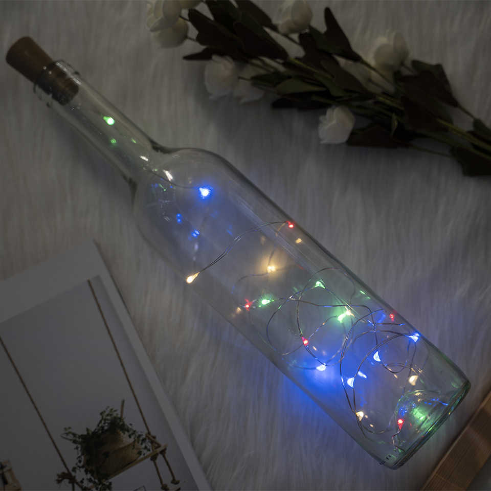 10 20 LED String Light LED Wine Bottle Lights Cork Garland silver Wire Fairy Lights for Glass Craft Christmas Party Decoration